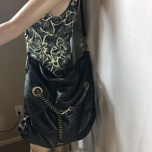 Big Buddha BLACK VEGAN CHAIN Leather Shoulder Bag